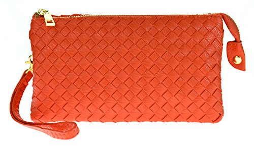 Proya Collection Classic Soft Woven Leather Wristlet Clutch (Orange)