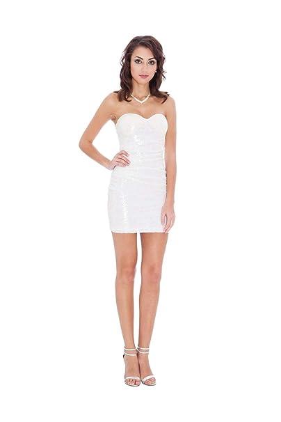 Goddiva - Vestido - Sujetador Bandeau - Sin Mangas - para Mujer Blanco Blanco 36