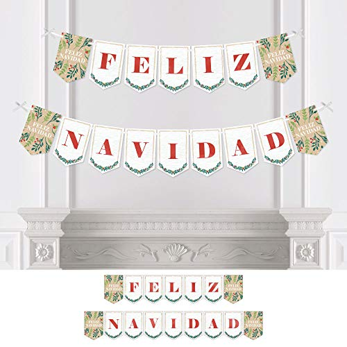 Big Dot of Happiness Feliz Navidad - Holiday and Spanish Christmas Party Bunting Banner - Party Decorations - Feliz Navidad -