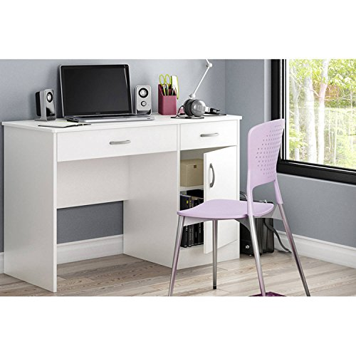 Office Home Table Station Furniture Smart Basics Computer Work Desk Multiple Finishes and Contemporary Style, Back panel behind door is pre-drilled for cable management with Laminated particle - Work Table Doors