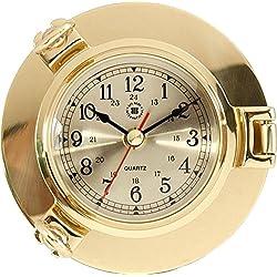 Bey-Berk International Brass Porthole Nautical Clock - Tarnish Proof