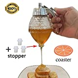 Honey and Syrup Dispenser, 200ML Honey Dispenser Jar Container Acrylic Storage Pot - No Drip, Moderate Flow,BPA Free