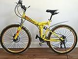 "26"" Folding Bicycle Shimano 21 speed Mountain Bicycle Disc Brakes YELLOW"