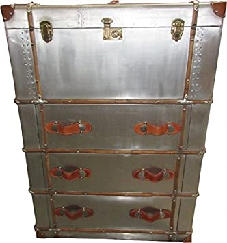 Casa-Padrino Art Deco Vintage Maletas Armario Cómoda Aluminio/Cuero - Estilo de la Vendimia cómoda Volante: Amazon.es: Hogar
