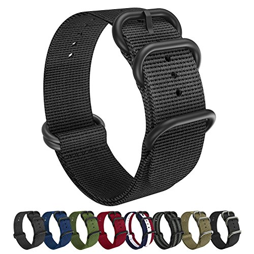 Nylon Straight Connector (Emibele 20mm Universal Watch Band, Fine Woven Nylon with Stainless Steel Buckle Adjustable Replacement Band for 20mm Sport Strap, Black)