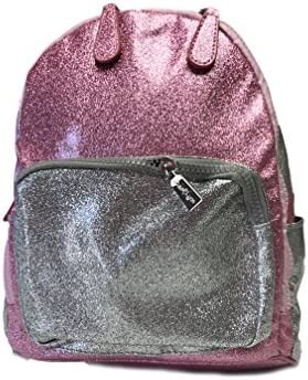 Bari Lynn Pink and Silver Mini Glitter Backpack