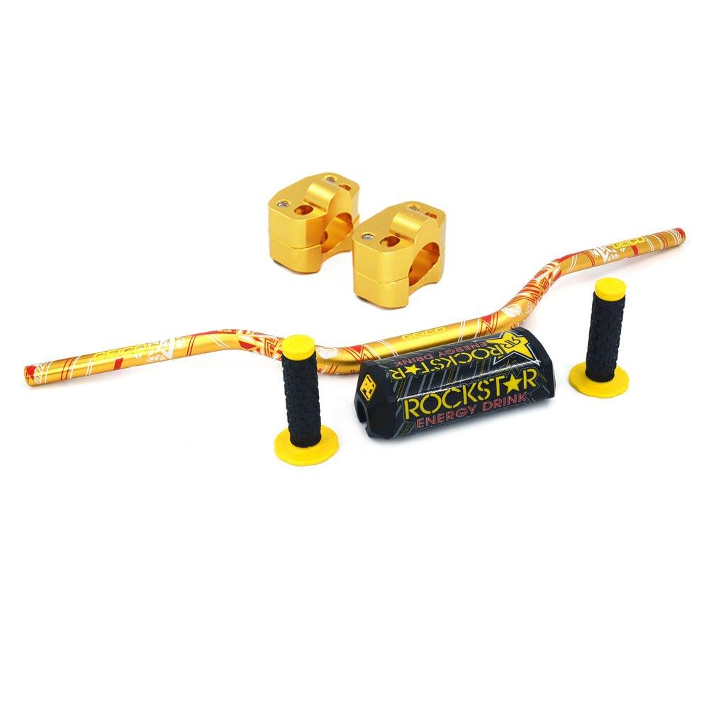 1 1/8'' 28mm Dirt Bike Handlebar - Fat Handle Bar & Clamp Adapter & Pad & Grips  For KTM Suzuki RM250 RMZ250 DRZ400 RMZ450 Honda Kawasaki Yamaha (Gold)