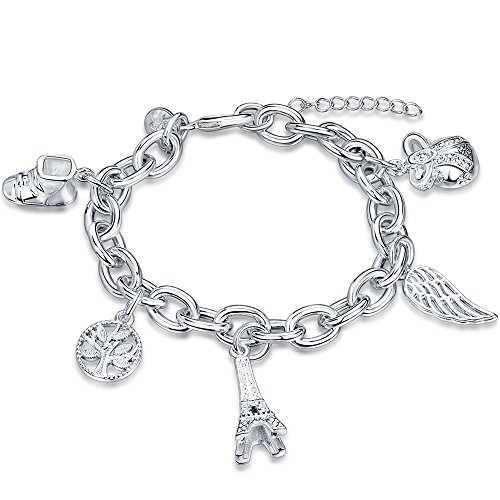 925 Silver Multi Charms - BEMI Elegant 925 Sterling Silver Plated Multi-style Charms Link Bracelet Birthday Gift for Woman as Love Eiffel Tower