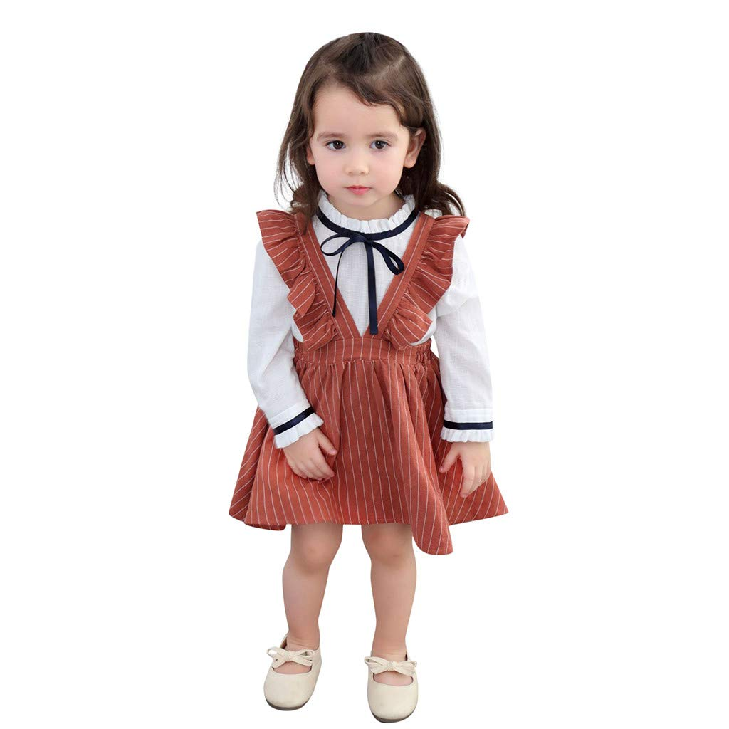 VEZAD Baby Girls Clothes Sleeveless Ruffles Stripe Party Princess Dresses 2-7T