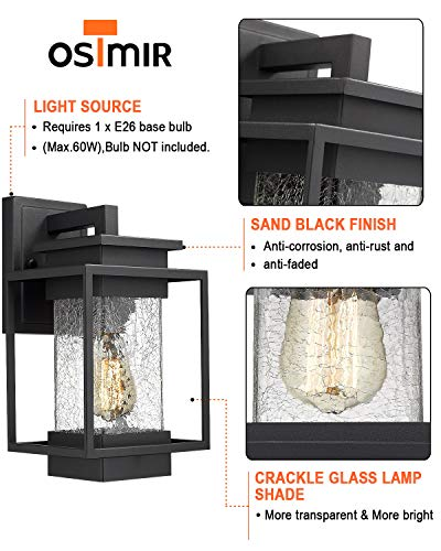 Osimir Outdoor Wall Sconce Light Fixture, 1 Light Exterior Wall Lantern in Black Finish with Crackle Glass Lamp Shade… - HIGH QUALITY OUTDOOR WALL MOUNT LIGHT: Made of sturdy metal construction in black finish, crackle glass lamp shade. Can be easily to match with other decoration style. Ideal for porch, patio, garden, corridor, balconies, terraces, garage door, villa, open field, entryway. WATERPROOF, WEATHER RESISTANT AND RUST RESISTANT: This outdoor wall sconce is ideal for residential or commercial use, able to protect against harsh weather conditions. HARD WIRED: Requires 1x E26 base, A60/ST58/G45 type bulb (Max 60W), Bulb NOT included.Compatible with LED bulb, Incandescent or CFL bulb. - patio, outdoor-lights, outdoor-decor - 51o9BZnzn L -