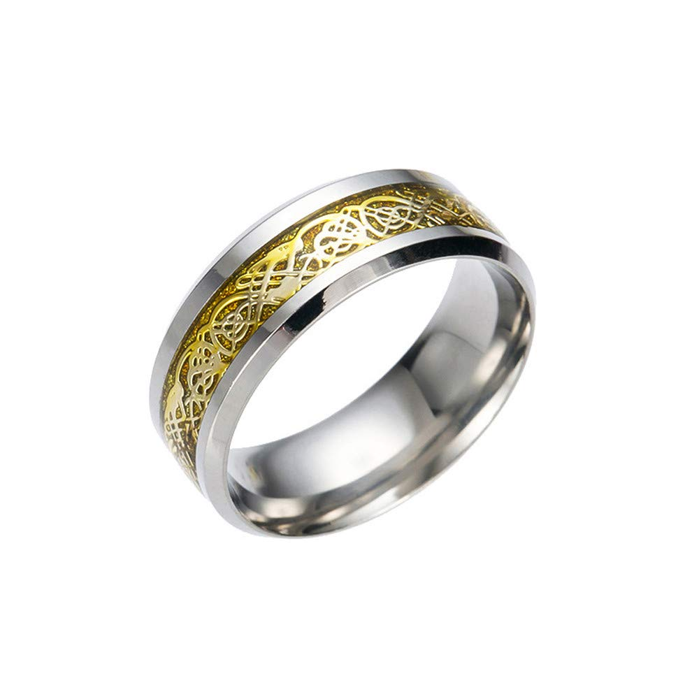 Toaimy Ear Pendants Titanium Steel Dragon Ring with Silver and Golden, Stainless Steel Ring