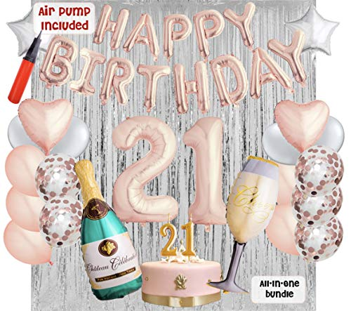 21st Birthday Party Balloons and Decoration Bundle - 43 Pieces Party Supplies and Balloons All in One Set - Rose Gold Happy Birthday Balloons, 21 Number Balloons, Air -