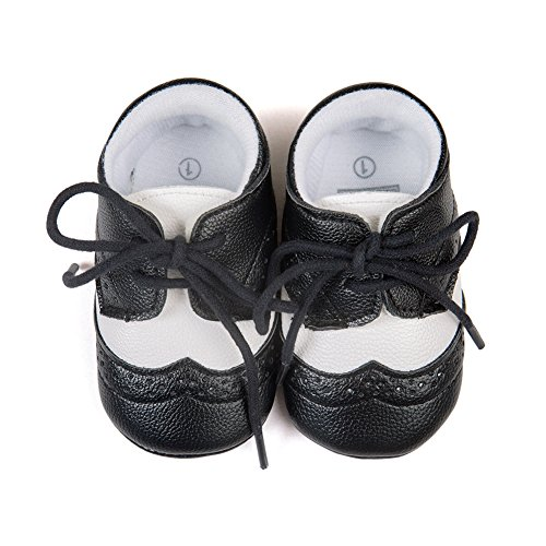 Top-Sell 1pair Zapatos De Bebé Infantiles Faux Leather Anti Slip Soft Bottom Prewalker Shoelace Negro