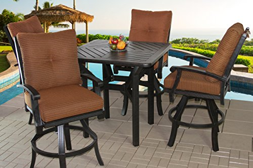 Heritage Outdoor Living Cast Aluminum Barbados Outdoor Patio 5pc Bar Set with Series 4000 42