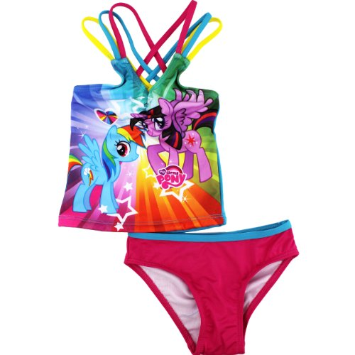 Hasbro Little Girls'  My Little Pony Stars and Hearts Tankini, Blue/Pink, 2T
