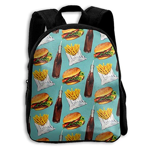 Personalized Children's School Backpack Bookbag Shoulder Bags Coke Chips And Hamburger Perfect Gift Idea For Family/Friends/Travelers/Co-Workers/Classmates