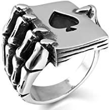 INBLUE Men's Stainless Steel Ring Silver Tone Black Ace of Spades Poker Card Skull Hand