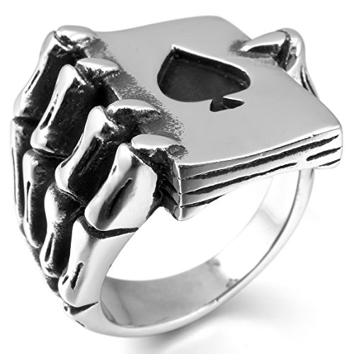 INBLUE Mens Stainless Steel Ring Silver Tone Black Ace of Spades Poker Card Skull Hand