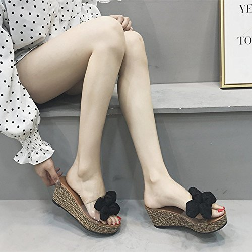 Flops Sequin Knot With High Bow Transparent Slope Black Sandals With Slippers Heeled Women Gold Summer Flip 39 8Eqv07