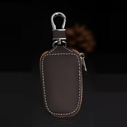 Llavero del coche de la bolsa de protección de cuero genuino elegante titular de la moneda Llavero remoto automático llavero cartera para mujeres y ...