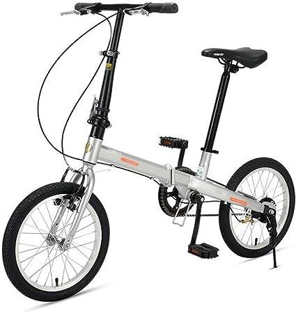 Bicicleta Plegable De Una Velocidad De 16 Pulgadas Niño Adulto Estudiante Ciudad Bicicleta Portátil Desplazamiento De Bicicletas Plegables: Amazon.es: Hogar