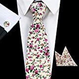Autumn Water Mens 8cm Classic Cotton Ties Fashion Retro Floral Ties Colorful Printed Party Neck Ties Pocket Square Cufflinks Set