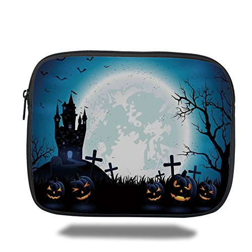 Laptop Sleeve Case,Halloween Decorations,Spooky Concept with Scary Icons Old Celtic Harvest Figures in Dark Image,Blue,iPad Bag ()