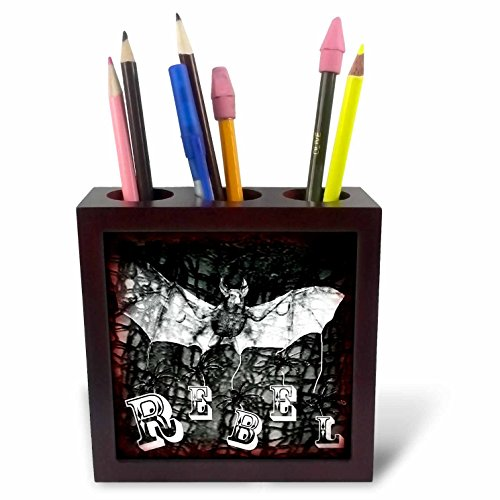 WhiteOaks Photography and Artwork - Halloween - Halloween Rebel is my yearly Halloween design with bats and rebel - 5 inch tile pen holder (ph_245651_1)
