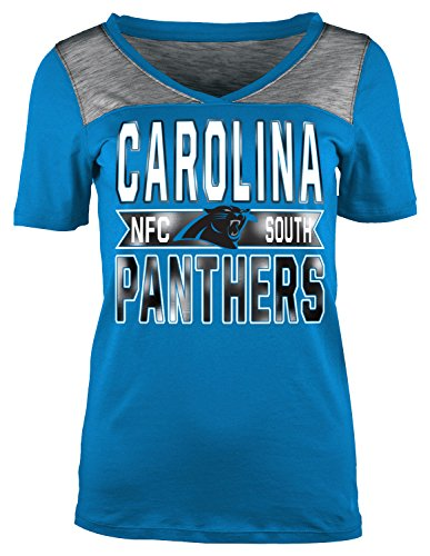 A-Team Apparel NFL Carolina Panthers Women's Short Sleeve Crossover V-Neck Tee, Small, (Crossover Jersey Tee)