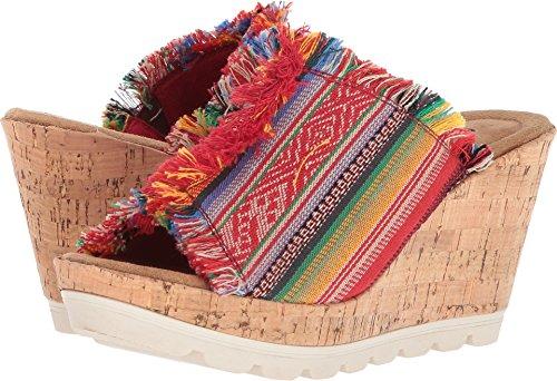 Minnetonka Womens York Wedge Sandal, Frisco Stripe Fabric, Size 8
