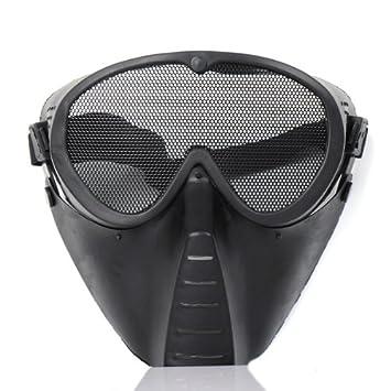 Daditong - Máscara protectora para airsoft (metal, cara completa, gafas de rejilla)
