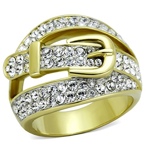 Buckle Fashion Ring (Women's Stainless Steel 316 Gold Plated Crystal Buckle Cocktail Fashion Ring Size 5)