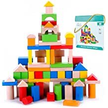 Premium Wooden Building Blocks Set - 100 pc - Top Quality - for Toddlers Preschool Age - Classic Hardwood Plain & Colored Small Wood Block Pieces for Boys & Girls - Basic Educational Build & Play Toy