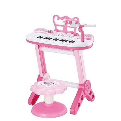 DUWEN Teclado pequeño de plástico para niños con micrófono, principiante y juguete para niña