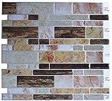 Kitchen Backsplash Diy Crystiles Peel and Stick Self-Adhesive Backsplash Tile for Bathroom and Kitchen DIY Renovation Project, Multi-Color Marble, Item# 91010829, 10