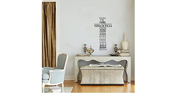Amazon.com: freamc Vinyl Wall Sticker Mural Bible Letter Quotes Spanish Quote nada te turbe nada te espante todo se pasa for living room: Home & Kitchen