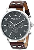 Akribos XXIV Men's AK752SSBR Swiss Quartz Movement Watch with Gray Matte Dial and Brown with White Stitching Leather Calfskin Strap