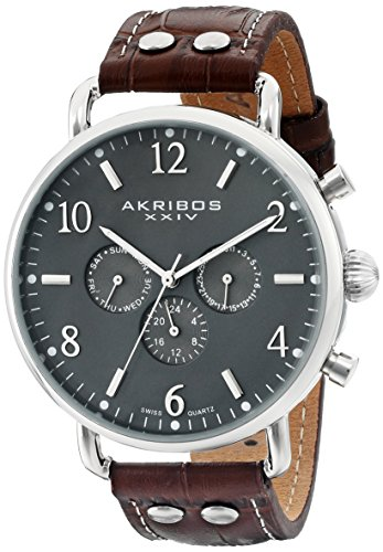 Akribos XXIV Men's AK752SSBR Swiss Quartz Movement Watch with Gray Matte Dial and Brown with White Stitching Leather Calfskin Strap