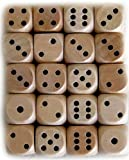 Custom & Unique {Standard Medium 16mm} 20 Ct Pack Set of 6 Sided [D6] Square Cube Shape Playing & Game Dice Made of Wood w/ Simple Plain Classy Design [Brown & Black] w/ Dice bag by mySimple Products