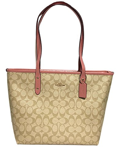 Coach Signature City Zip Tote Bag Handbag (IM/Lt Khaki/Vintage Pink)