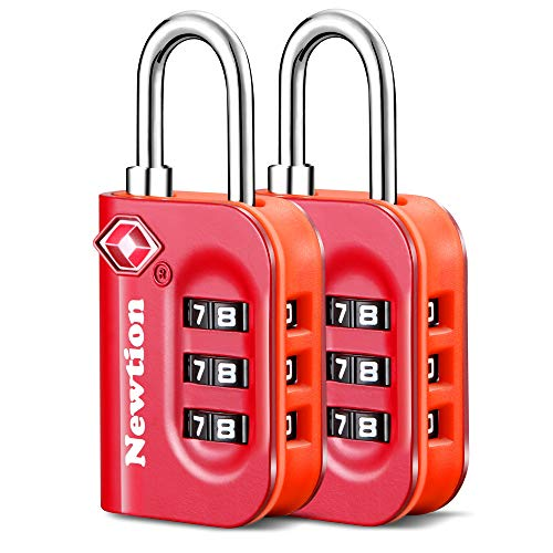 Newtion TSA Approved Luggage Lock,Travel Lock with Double Color Alloy Body,TSA Combination Lock for Luggage 1&2 Pack (Red 2Pack)