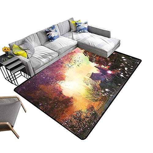 (Printed Carpet House Abandoned Medieval Castle with Old Tower Ghosts Halloween Spooky Mauve Yellow Maximum Absorbent Soft 6' X)