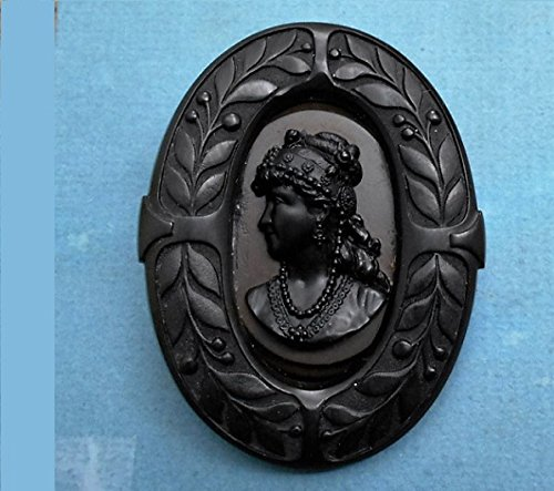 Antique Gutta Percha Black Mourning Cameo Elaborate Flowers & Hair Jewelry Brooch/ PENDANT Victorian. Gutta Percha Setting Added by Me. Black Jet Glass Necklace Available.