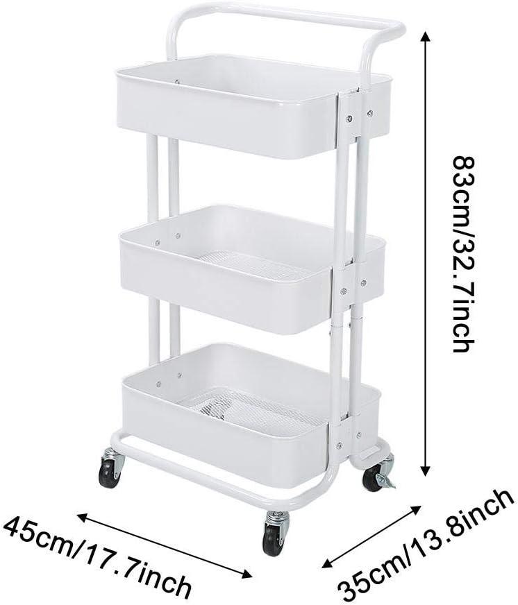 Facile da Montare 83 x 45 x 35 cm Bianco Carrello da Cucina a 3 Ripiani Cucina per Bagno con Ruote Zoternen Ufficio