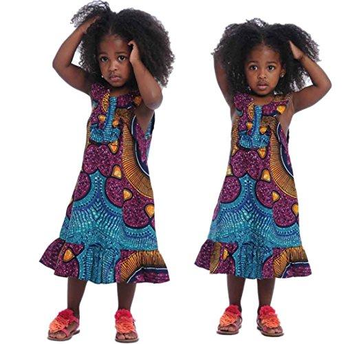 Franterd Baby Girls Dashiki Fashion Africa Print Sleeveless Tops Dress