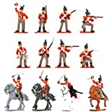 Plastic Toy Soldiers Napoleonic British Infantry Battle of Waterloo Painted Set 1/32 Scale 16 Pieces by Sunjade