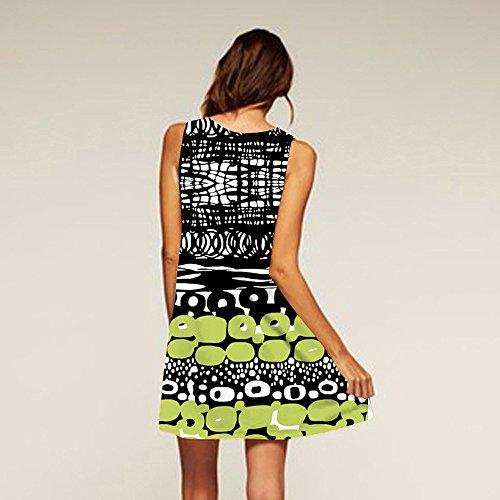 A Loose iYBUIA Line Floral Boho Print Bohe Tank 3D Sleeveless Y Vintage Summer Women Summer Mini Dress green wrBO7rIq