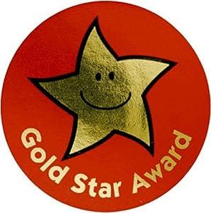 38mm Gold Star Award: 50 metallic reward stickers: Amazon ...