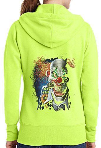 Womens Joker Clown Full Zip Hoodie, Neon Yellow, 2X