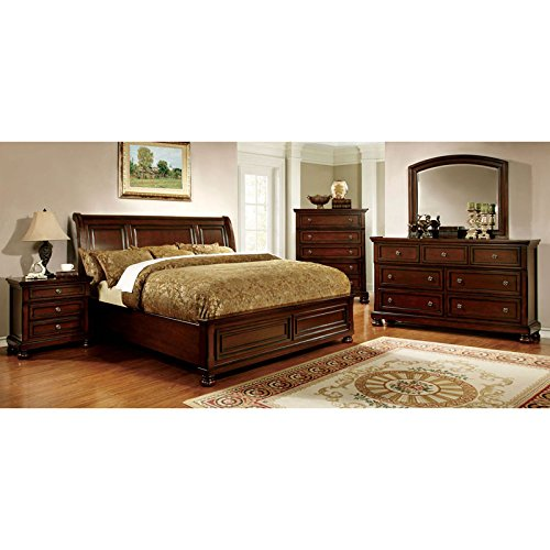 247SHOPATHOME Idf-7682Q-6PC Bedroom-Furniture-Sets, Queen, Cherry